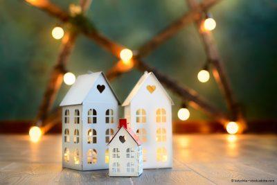 weihnachtliches Bild mit Häusern